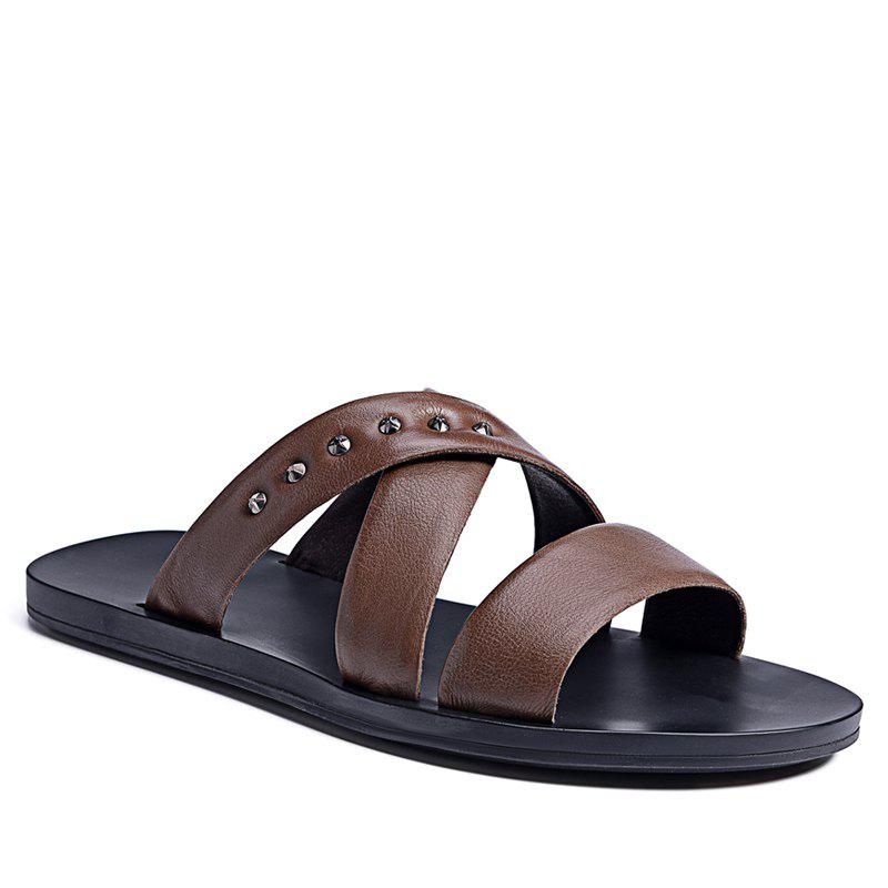 Hot Sale Outdoor Comfortable Fashion Beach Slippers Soft Upper Leather Men Sandals - MOCHA 41