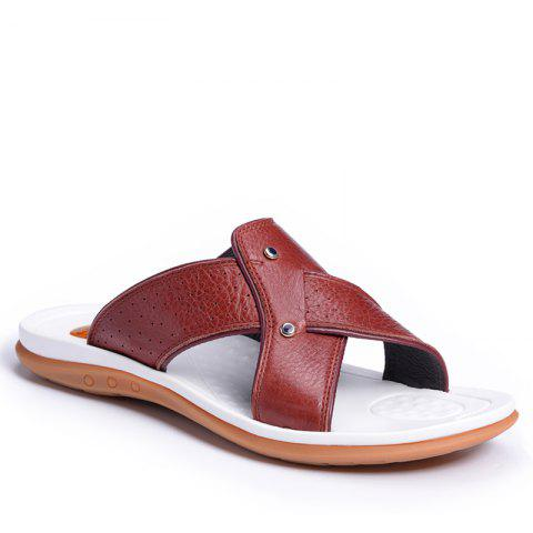 2017 Summer Men'S Leather Slippers Sandals Good Quality Outdoor Leather Slippers - BURGUNDY 43
