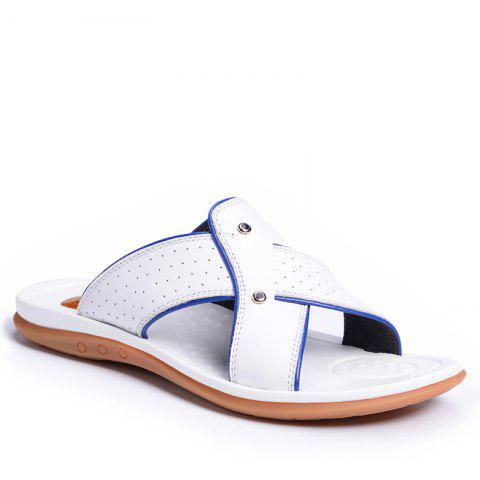2017 Summer Men'S Leather Slippers Sandals Good Quality Outdoor Leather Slippers - WHITE 38