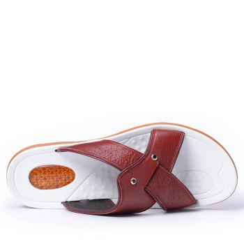 2017 Summer Men'S Leather Slippers Sandals Good Quality Outdoor Leather Slippers - BURGUNDY 40