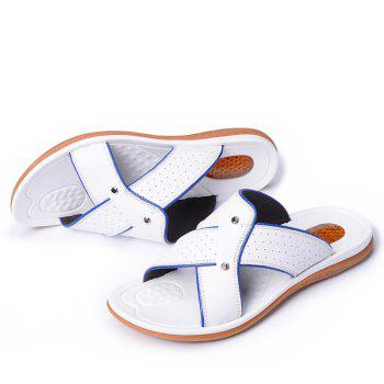 2017 Summer Men'S Leather Slippers Sandals Good Quality Outdoor Leather Slippers - WHITE 42