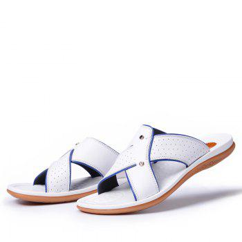 2017 Summer Men'S Leather Slippers Sandals Good Quality Outdoor Leather Slippers - WHITE 40