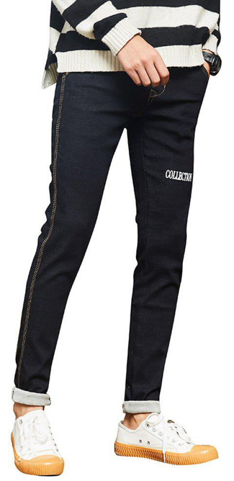 Daifansen Men's Winter Thickened and Velvet Jeans - BLACK 30
