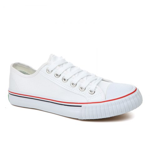 Men's Sneakers Lace Up Breathable Stylish Comfy Casual Sports Shoes Canvas Shoes - WHITE 43