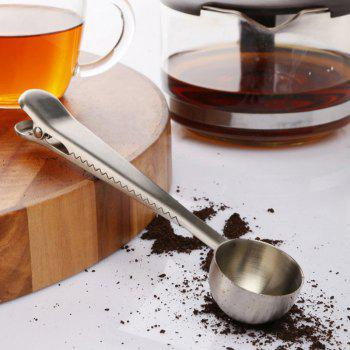 Hot New Silver Stainless Steel Ground Coffee Milk Powder Measuring Scoop Spoon With Bag Sealing Clip -  STAINLESS STEEL