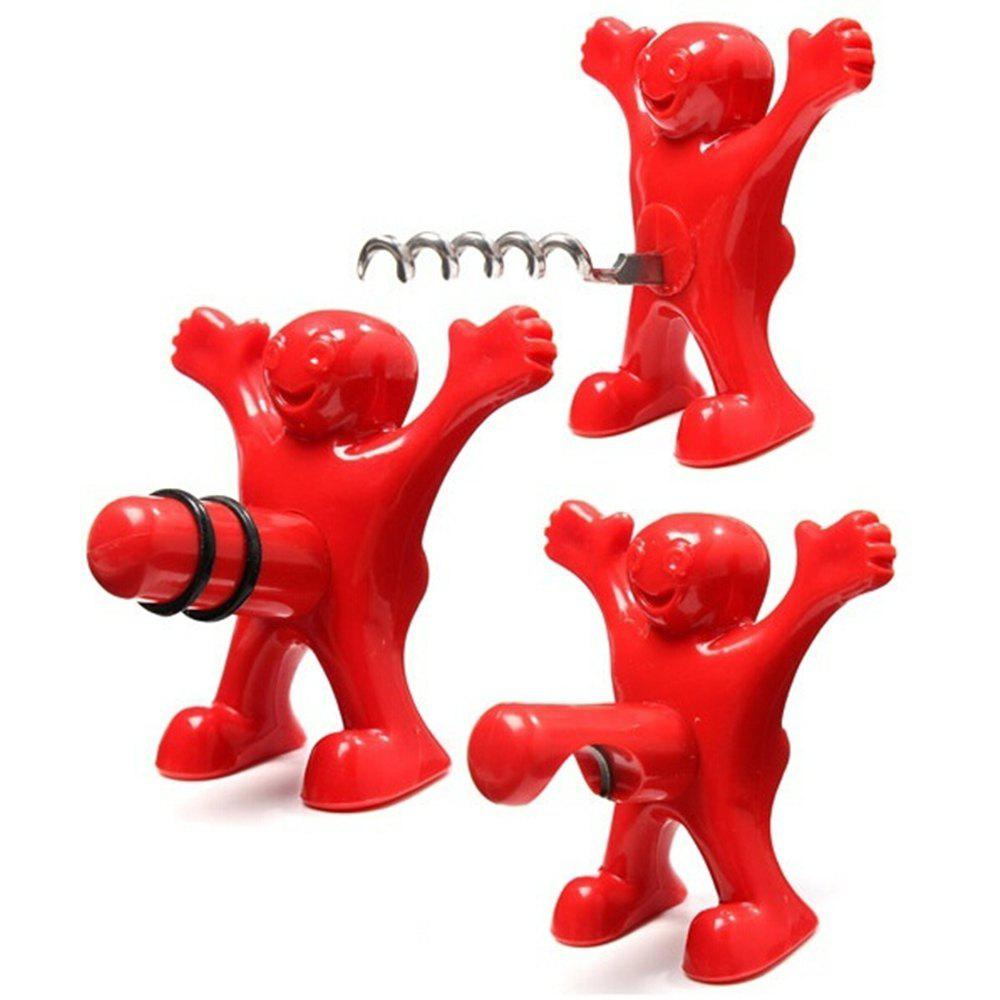 Little Reds Red Wine Opener Beer Bottle Opener Wine Stopper 3PCS - RED