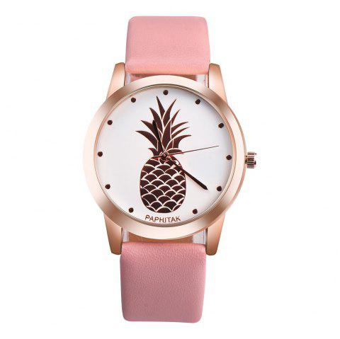 Lovely Pineapple Faux Leather Band Casual Analog Quartz Watch - PINK