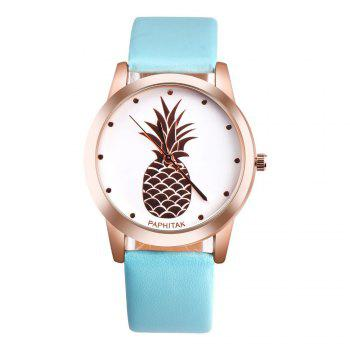Lovely Pineapple Faux Leather Band Casual Analog Quartz Watch - BLUE BLUE