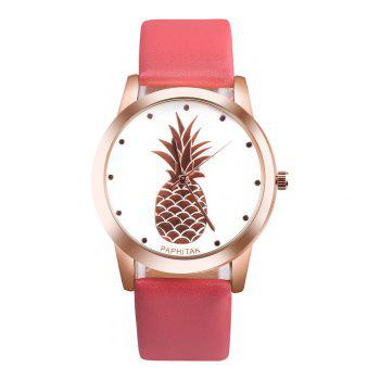 Lovely Pineapple Faux Leather Band Casual Analog Quartz Watch - RED RED