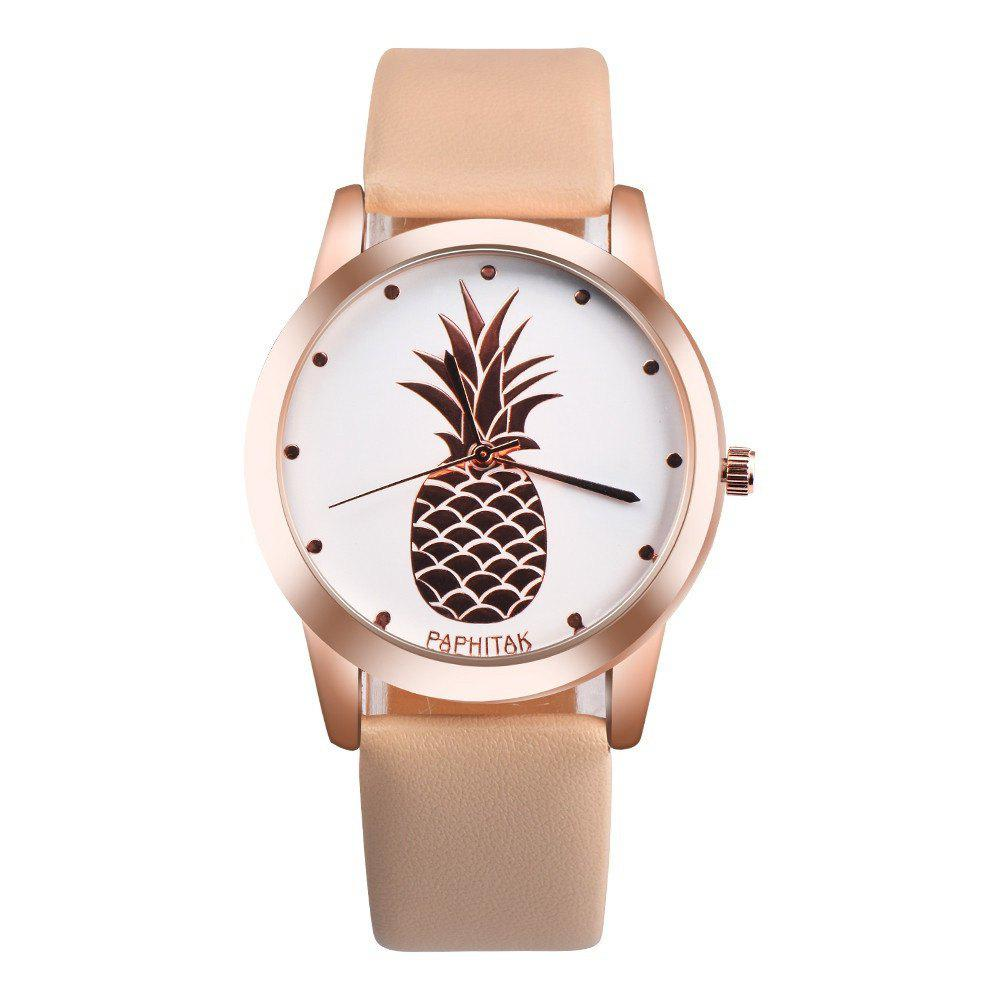 Lovely Pineapple Faux Leather Band Casual Analog Quartz Watch - GOLDEN