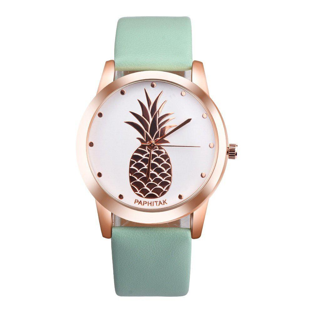 Lovely Pineapple Faux Leather Band Casual Analog Quartz Watch - MOSS