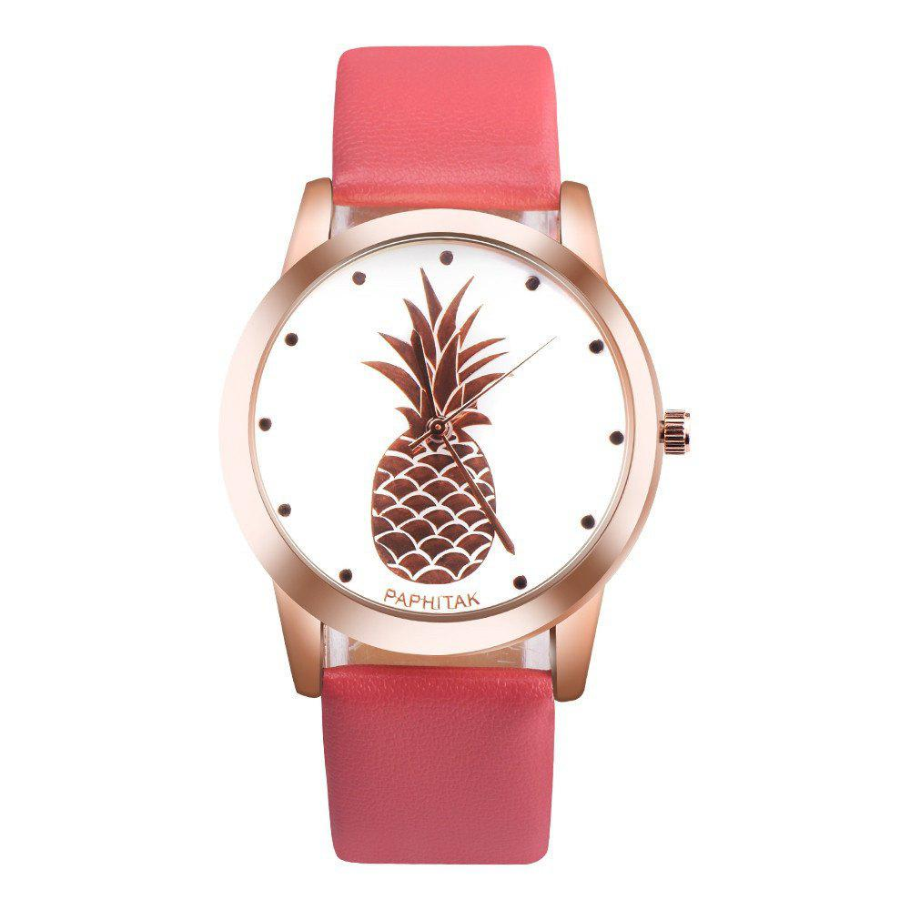 Lovely Pineapple Faux Leather Band Casual Analog Quartz Watch - RED