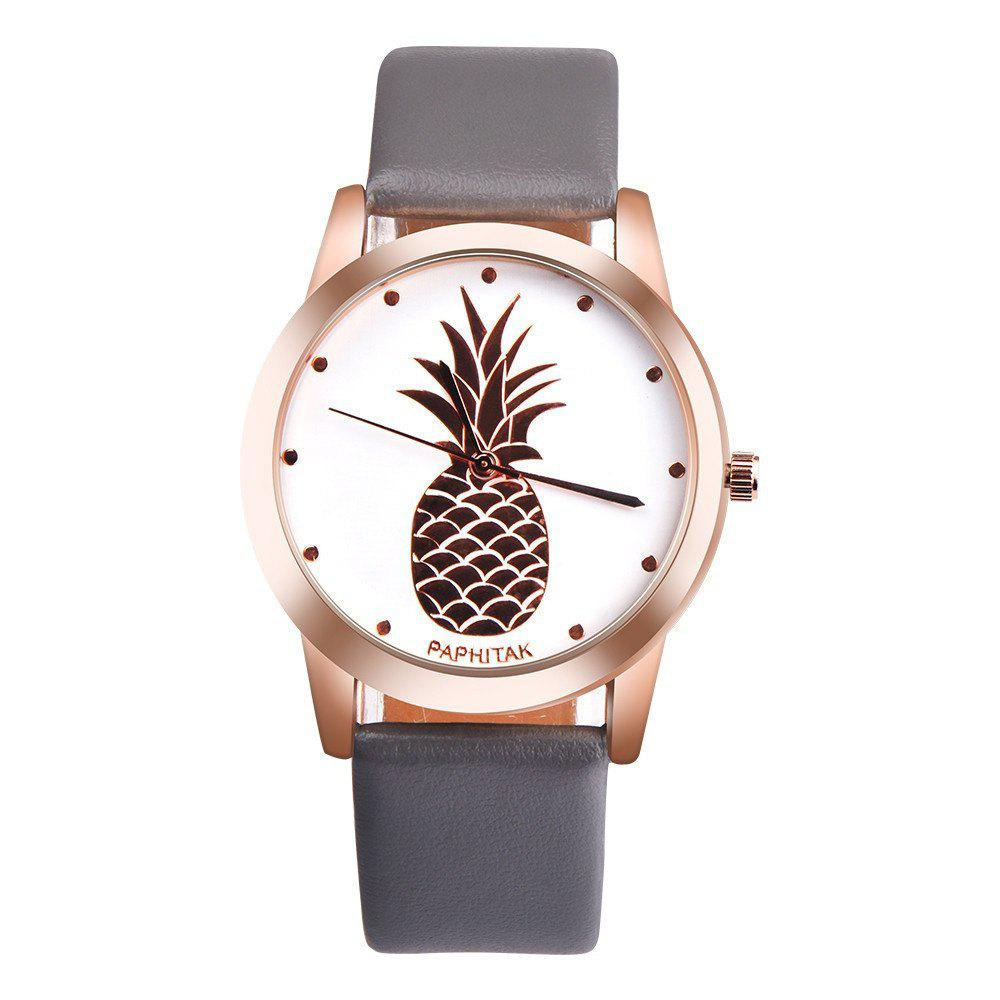 Lovely Pineapple Faux Leather Band Casual Analog Quartz Watch - GRAY