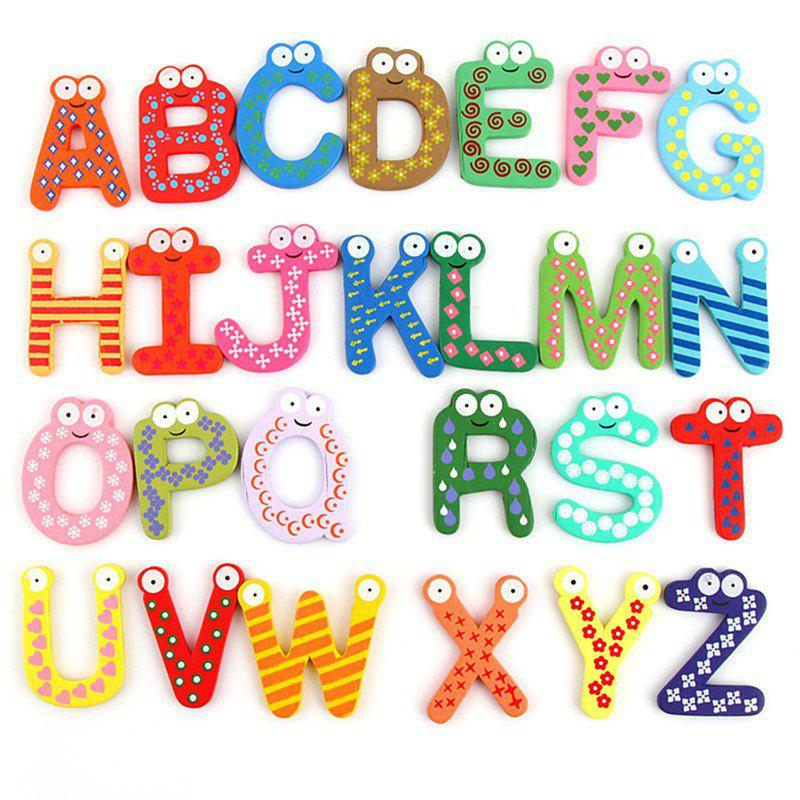 26PCS Cartoon Fridge Wooden Magnet Baby Child Toy Puzzle English Educational Toy Alphabet - COLORMIX