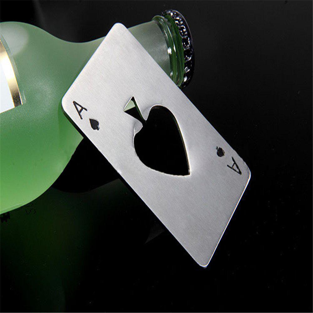 Spade A Poker-Shaped Stainless Steel Bottle Opener - SILVER