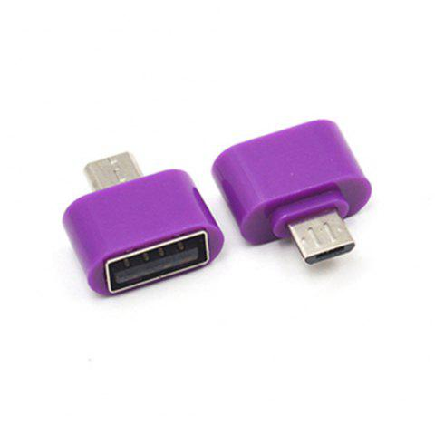 New and High Quality Micro USB to USB2.0 OTG Expansion Adapter For Cell Phone Android Interface - PURPLE