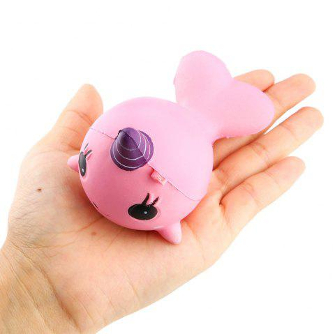 Soft Whale Cartoon Squishy Slow Rising Squeeze Toy Phone Straps Ballchains - PINK