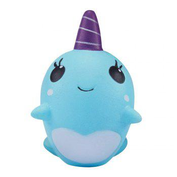 Soft Whale Cartoon Squishy Slow Rising Squeeze Toy Phone Straps Ballchains - BLUE