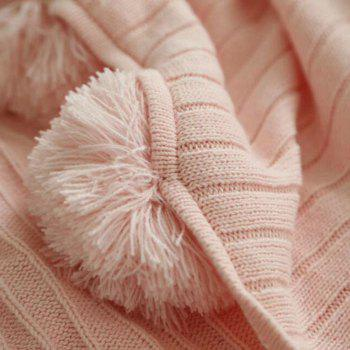 Pure Cotton Fancy Ball Decorative Knitted Blanket - PINK PINK
