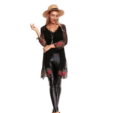 Fall Embroidered Long Sleeves Lace Blouse - BLACK L
