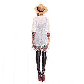Fall Embroidered Long Sleeves Lace Blouse - WHITE M