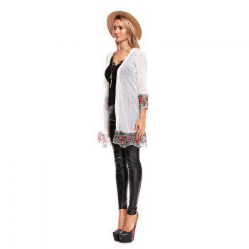 Fall Embroidered Long Sleeves Lace Blouse - WHITE L