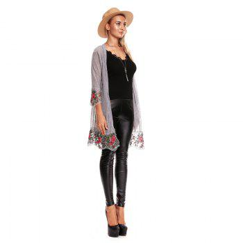 Fall Embroidered Long Sleeves Lace Blouse - GRAY M
