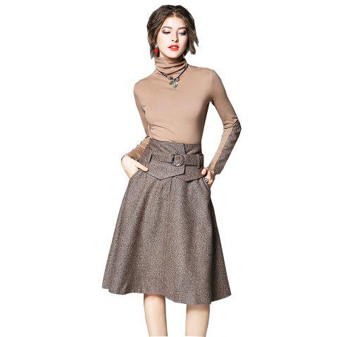 Spring and Summer New 2018 Women Skirt Suit - APRICOT M
