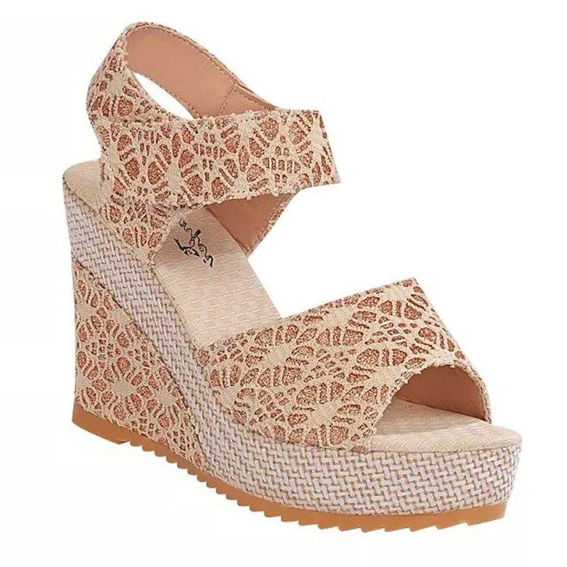 Wedge And Fish-mouthed Platform Heels For Platform Sandals - OFF WHITE 40