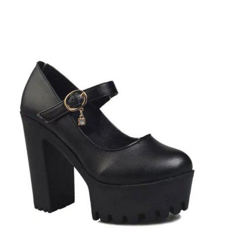 Round Head Thick Heel Waterproof Platform Shallow Mouth Buckle High Heel Single Shoes - BLACK 37