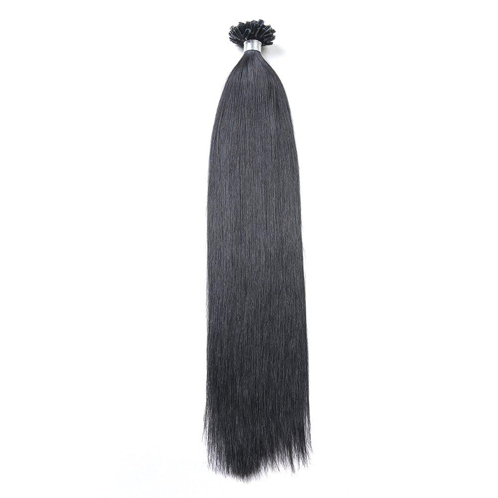 Basic colors Straight U Tip Hair Extensions Remy Hair in fusion hair Extensions 100pcs/pack - BLACK 16INCH
