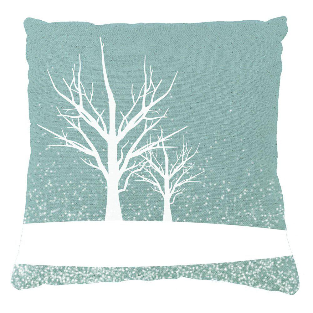 Winter Home Decor Tree Covered Snow Pront Pillow Cases - GREEN 16INCHX16INCH