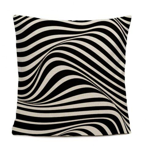 Black And White Ripple Pattern Bedroom Pillow Case - BLACK/WHITE JACQUARD 16INCHX16INCH