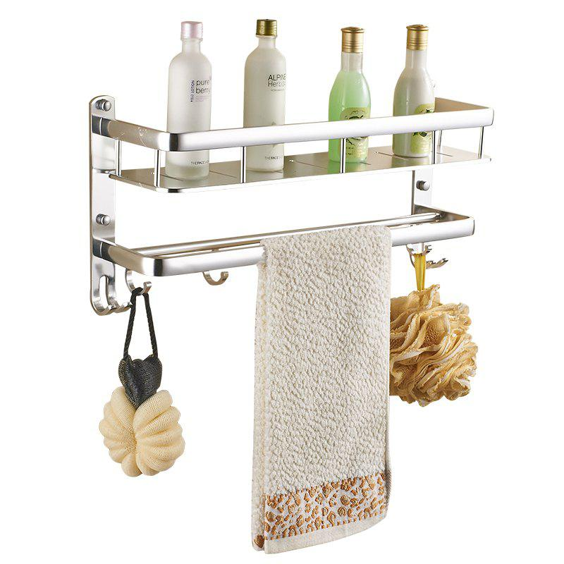 Space Aluminum Wall-mounted Bathroom or Kitchen Storage Double Shelf - SILVER