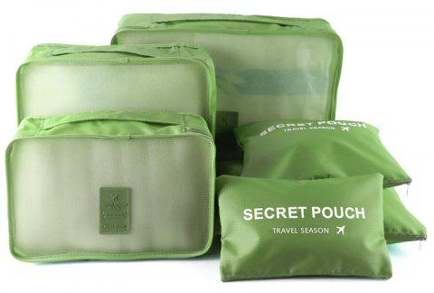 Waterproof Travel Storage Bags for Clothes and Underwear and Shoes 6pcs - GREEN