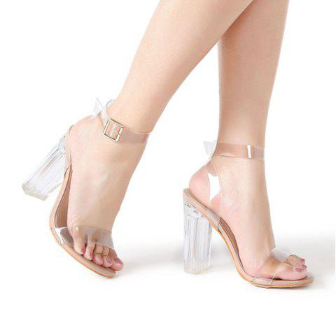 0c3041bfcddf9 2019 Ankle Strap Chunky Heeled Clear Sandals In CLEAR 36