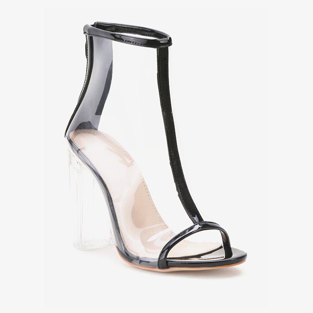 Contrast Trim Peep Toe Clear Chunky Heels - CLEAR 39
