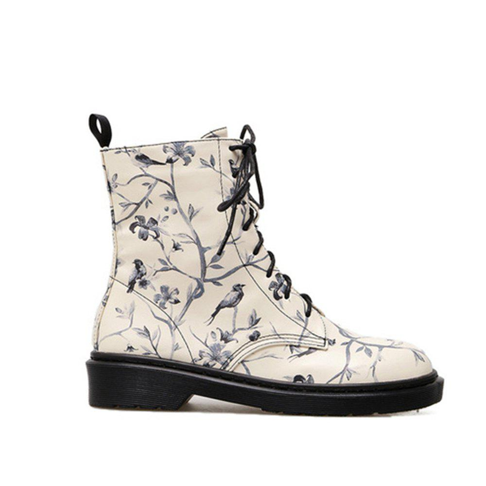 Flower Bird Print Lace Up Boots - multicolorCOLOR 41