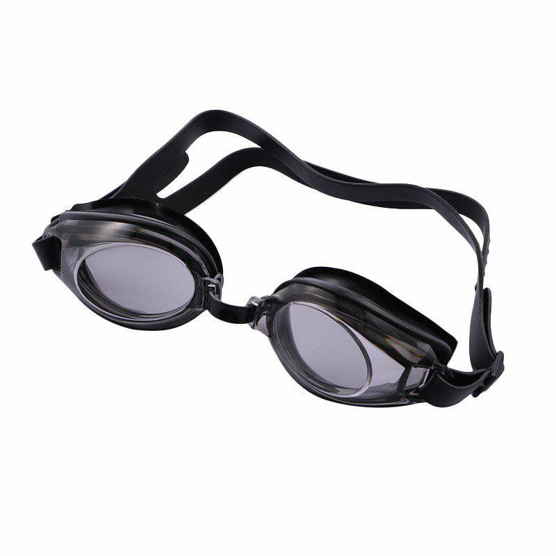 Swimming Goggles Mirror Coated Lenses Anti Fog Shatterproof UV Protection Swimming Glasses - BLACK
