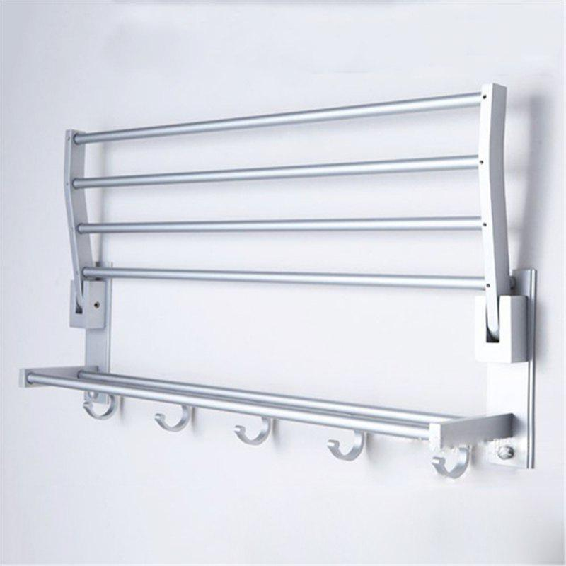 Space Aluminum Bath Towel Rack Folding Tower Bars Towel Rack - SILVER
