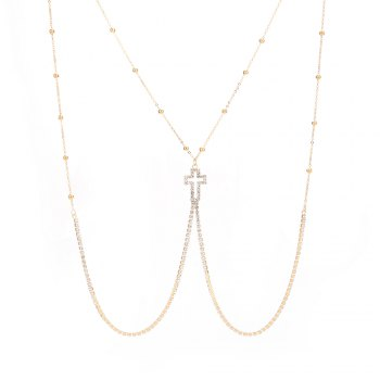 European and American new minimalist series body chain cross diamond alloy necklace - GOLDEN GOLDEN