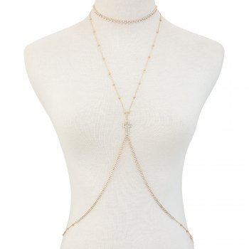 European and American new minimalist series body chain cross diamond alloy necklace - GOLDEN