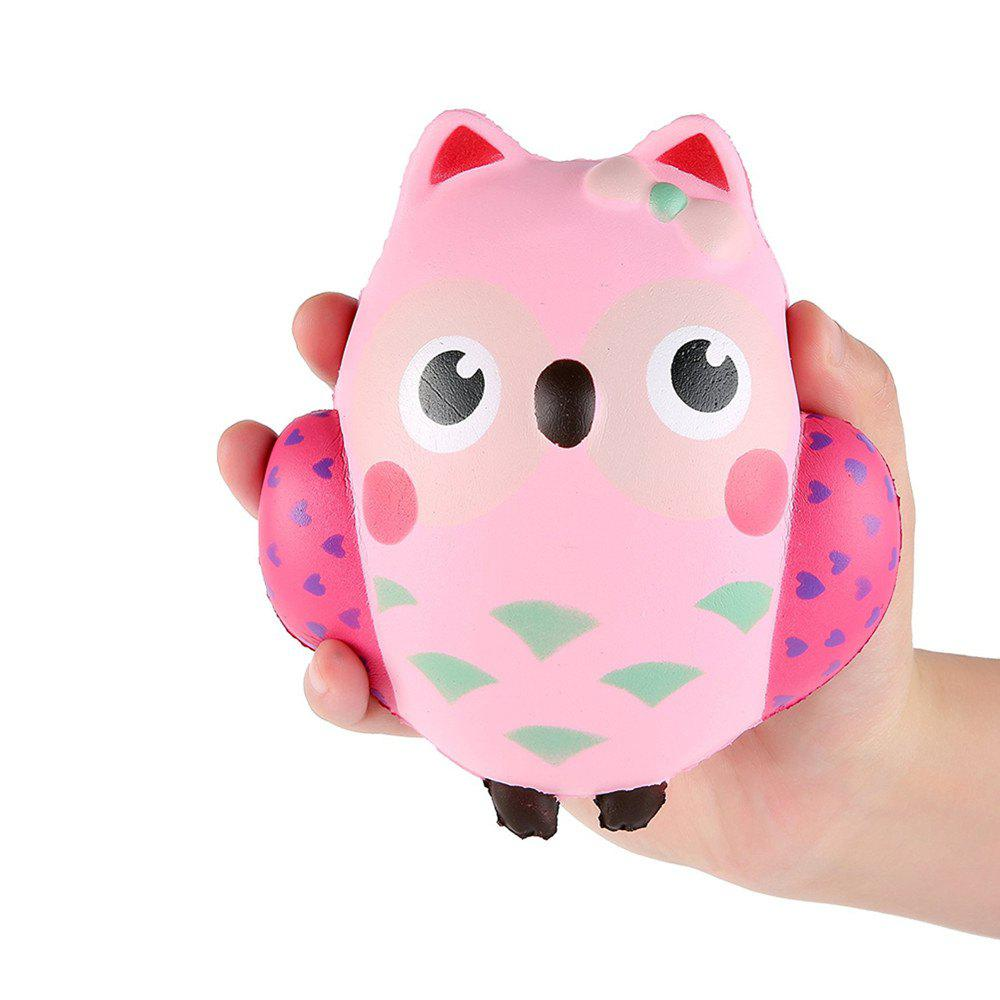 Cute Owl Cream Scented Squishies Slow Rising Decompression Squeeze Toy for Kids Stress Relief Hop Props - PINK