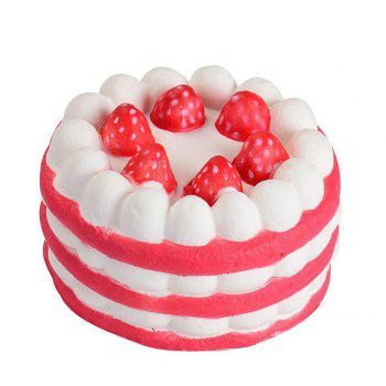 Stress Reliever Strawberry Cake Scented Super Slow Rising Kids Toy - RED