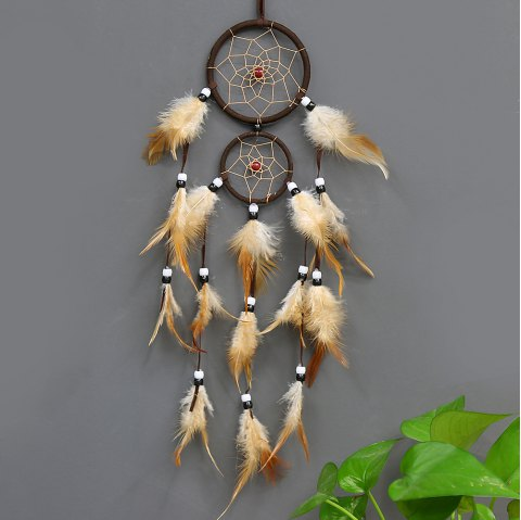 Vintage Home Decoration Retro Feather Dream Catcher Circular Feathers Wall Hanging Dreamcatchers Decor for Car - BROWN
