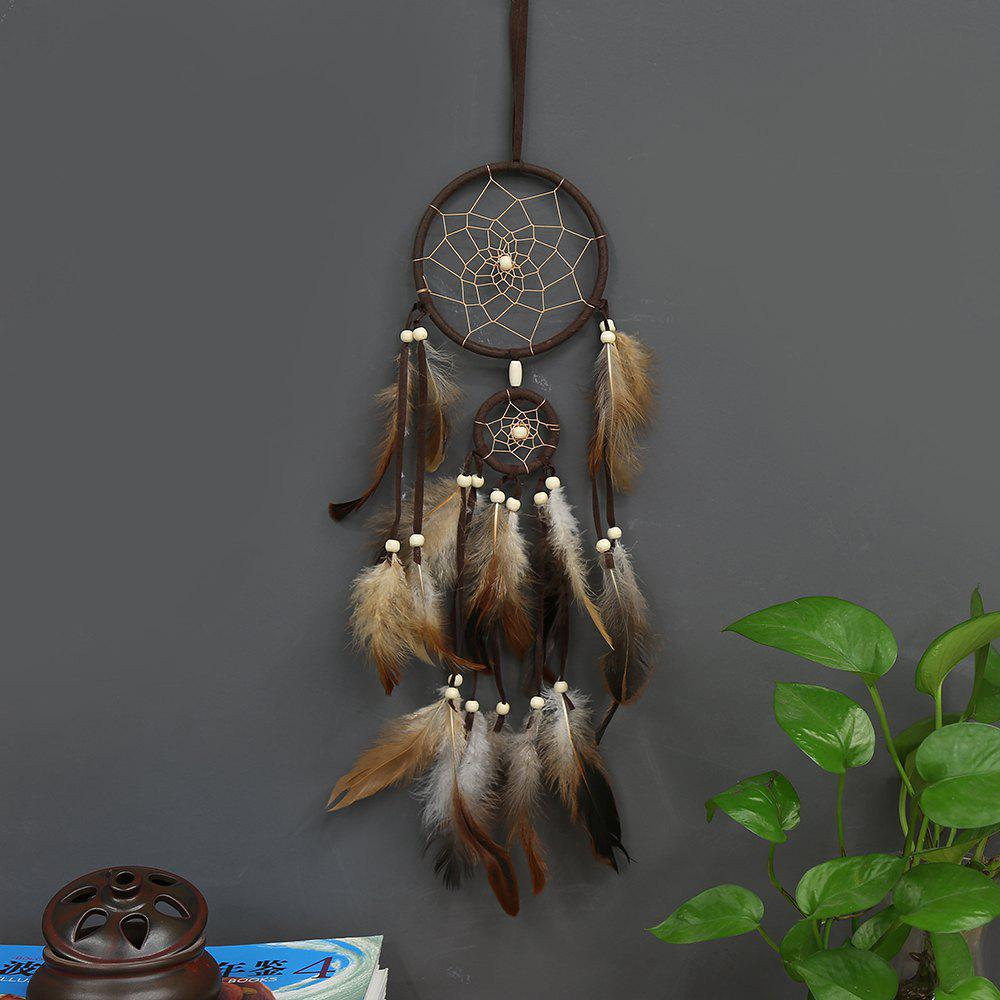 Indian Style Brown Dream Catcher Feathers Core Bead Dreamcatcher for Wall Car Decoration - BROWN