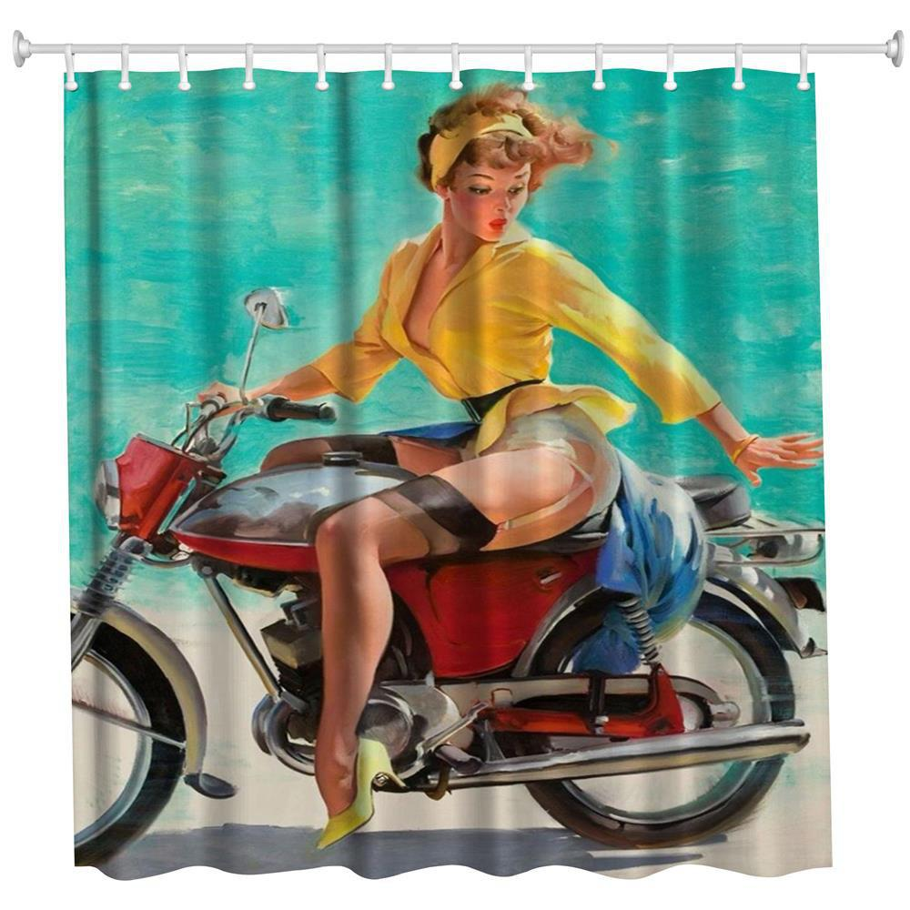 2018 The Beauty on the Motorbike Polyester Shower Curtain Bathroom ...