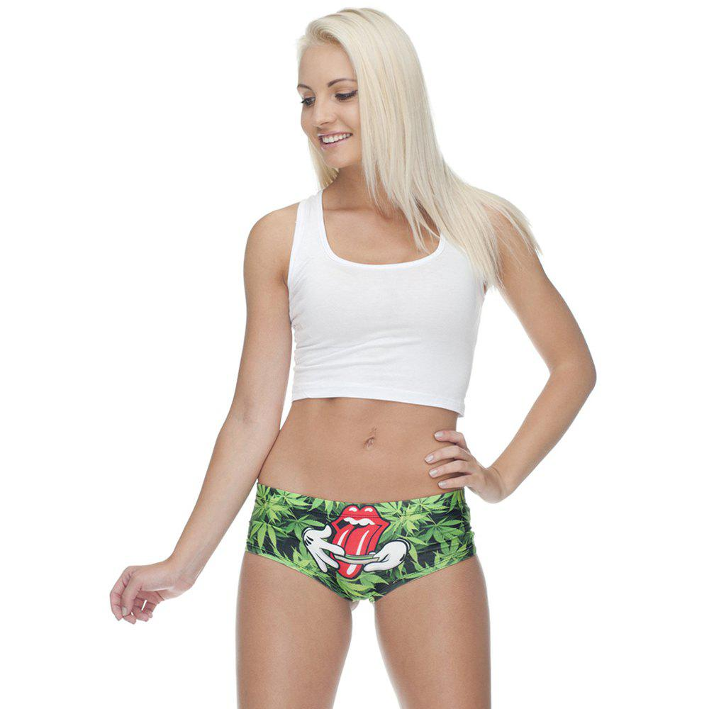 Fashion  Underwear Weed 3D Printing Women Sexy Panties - GREEN ONE SIZE