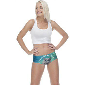 Fashion  Underwear Gray Cats 3D Printing Women Sexy Panties - multicolor ONE SIZE