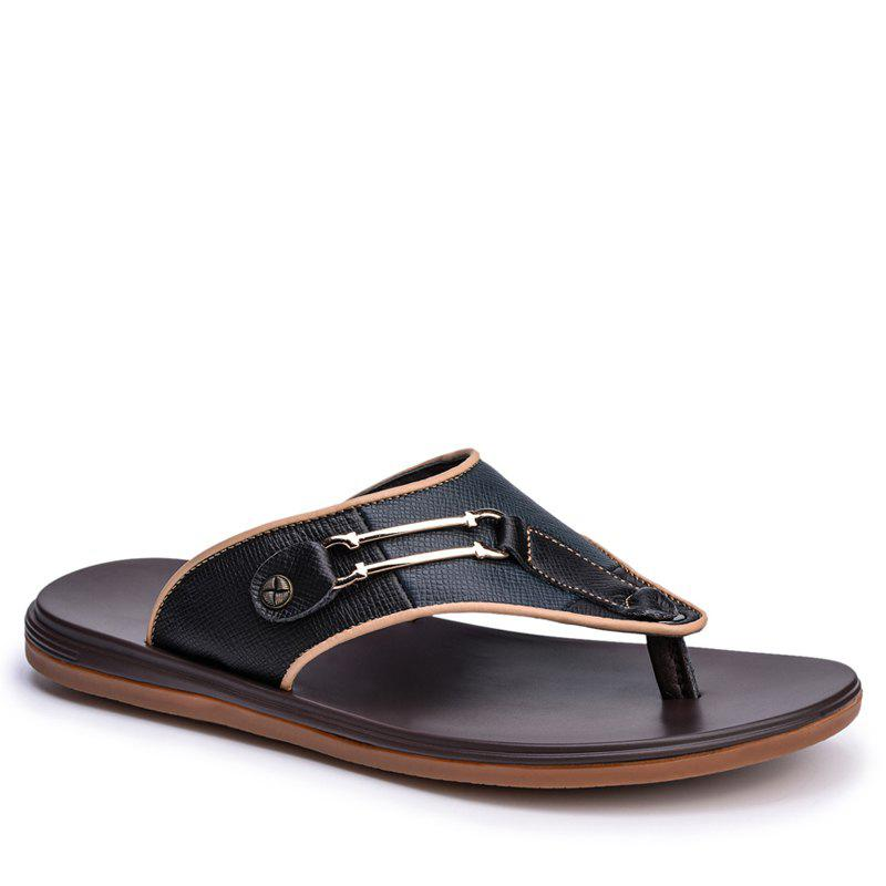 Men Sandals Summer Outdoor Beach Fashion Flip Flops Men High Quality Casual Men'S Slippers - BLACK 38